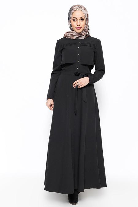 Eva Fashion Siyah Düğme Detaylı Elbise