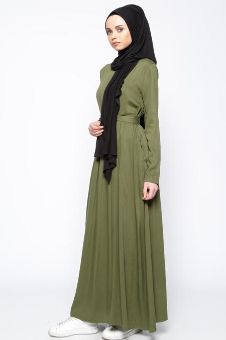 Everyday Basic Haki Pile Detaylı Elbise