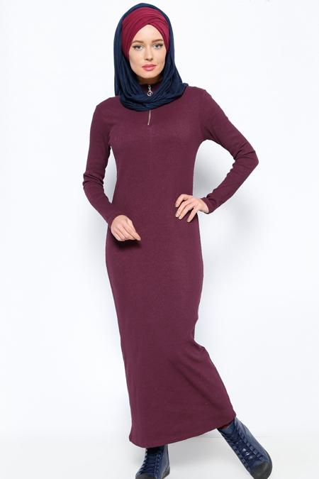 Everyday Basic Mürdüm Fermuar Detaylı Elbise