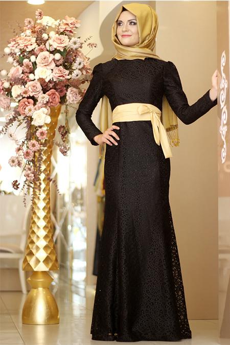 Gamze Özkul Siyah Dantel Balık Elbise