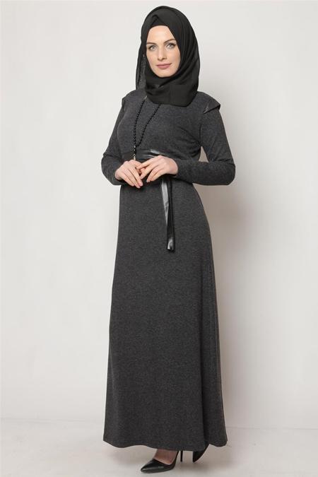 Hzl Siyah Deri Kemerli Tesettür Elbise