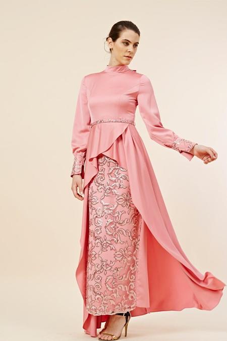 Kayra Gül Pembe Payetli Elbise