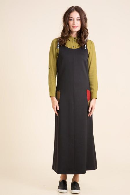 Kayra Siyah Askıları Yazılı Elbise