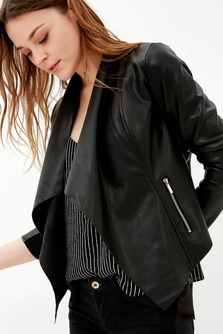 Koton Siyah Şal Yaka Garnili Ceket