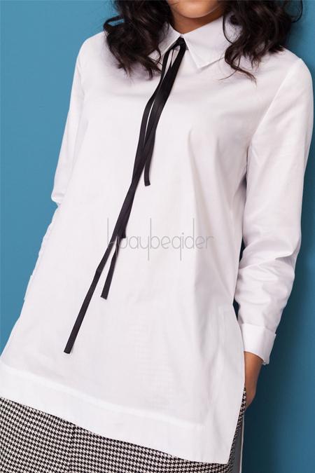 Kuaybe Gider Coton Beyaz Luce Tunik