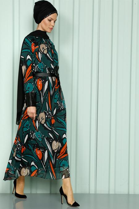 Luvice Yeşil Deri Detaylı Elbise