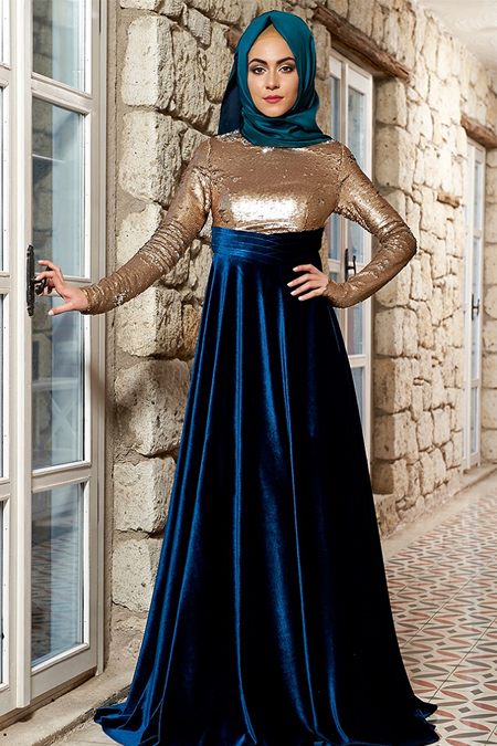 Mevra Gold Petrol Laura Abiye Elbise