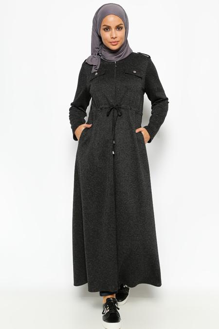 Miss Cazibe Siyah Fermuarlı Ferace
