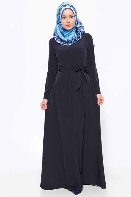 Missmira Lacivert Pile Detaylı Elbise