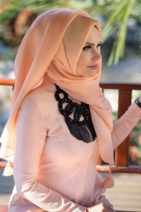 Muslima Wear Pudra Queen Püsküllü Şal