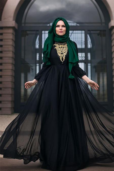 Muslima Wear Siyah Şifon Abiye Elbise
