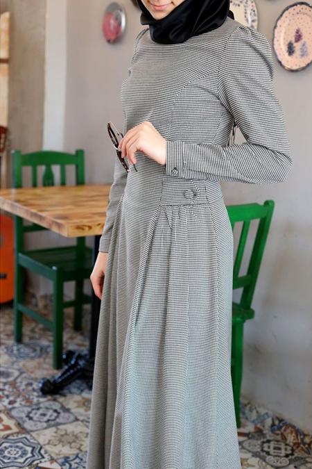 Morfistan Yandan Düğmeli Tesettür Elbise