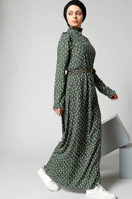 Refka Haki Fırfır Detaylı Elbise