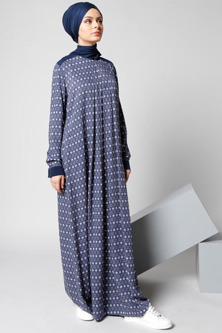 Refka Lacivert Natürel Kumaşlı Desenli Elbise
