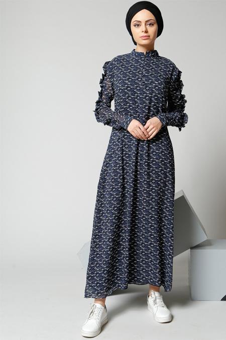 Refka Lacivert Şemsiye Desenli Şifon Elbise
