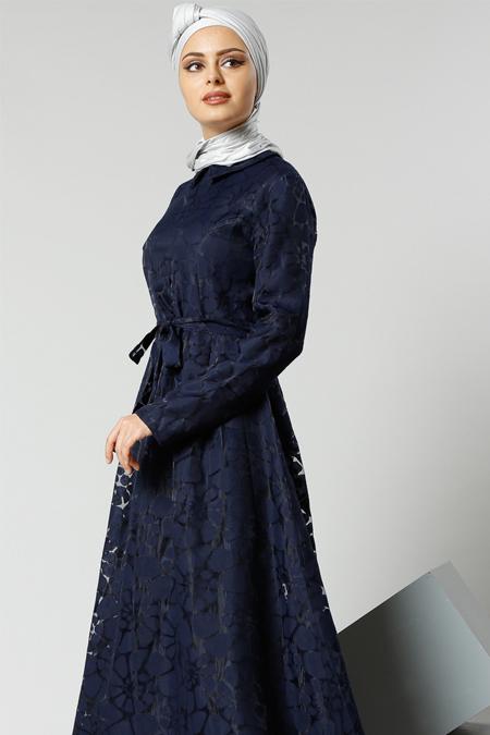 Refka Lacivert Yakma Elbise