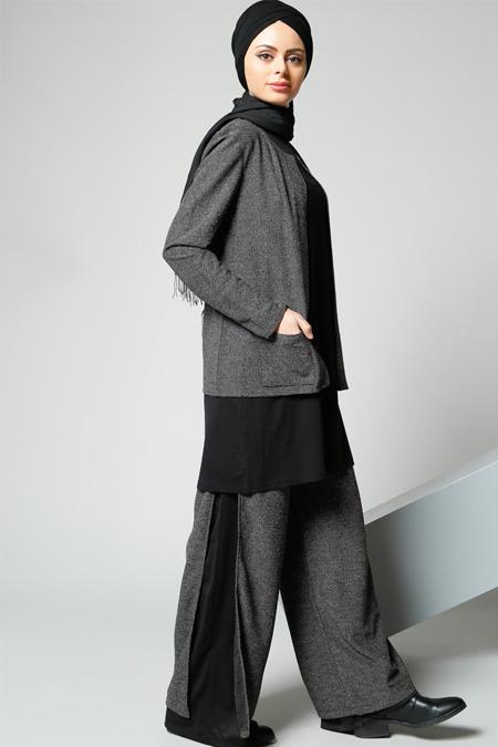Refka Siyah Bol Paça Pantolon
