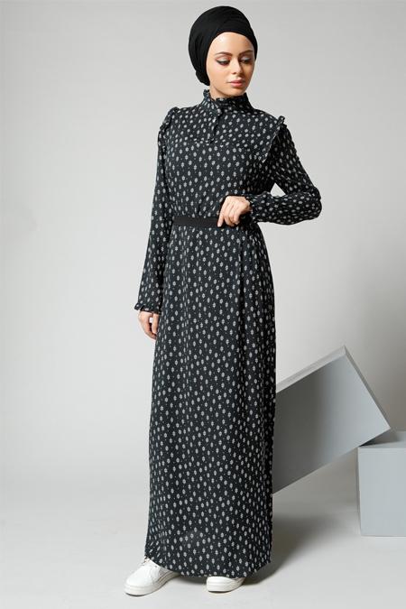 Refka Siyah Fırfır Detaylı Elbise