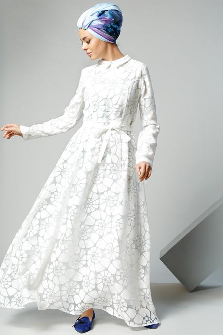 Refka Women Beyaz Yakma Elbise