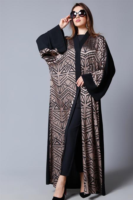 SHEIKHA Siyah Vizon Önü Desenli Abaya