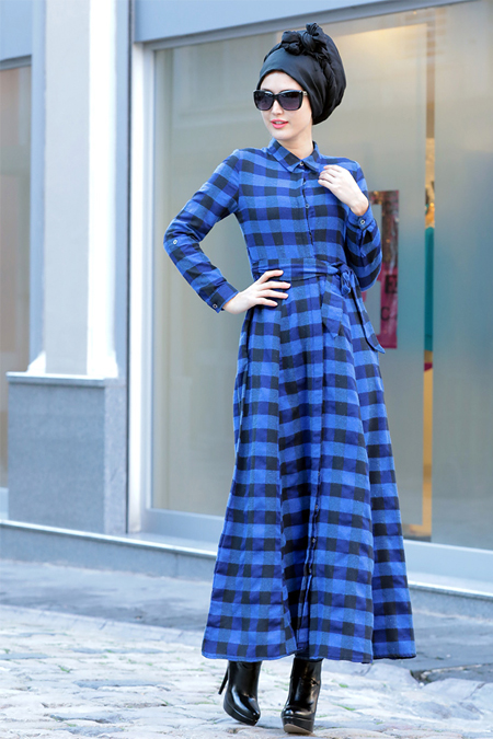 Selma Sarı Design Mavi Esila Elbise