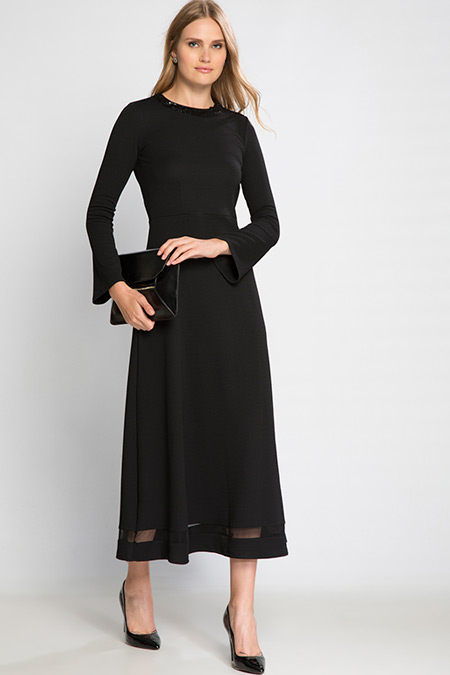 Siyah Düz Uzun Kollu Uzun Elbise