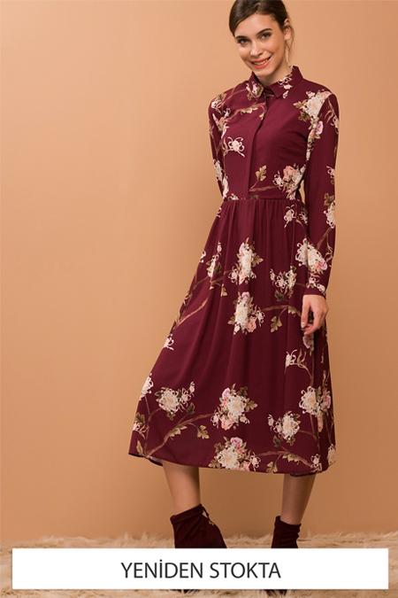 Vavist Kadın Bordo Desenli Elbise