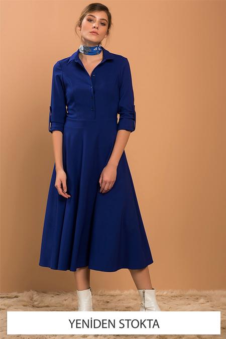 Vavist Kadın Saks Midi Elbise