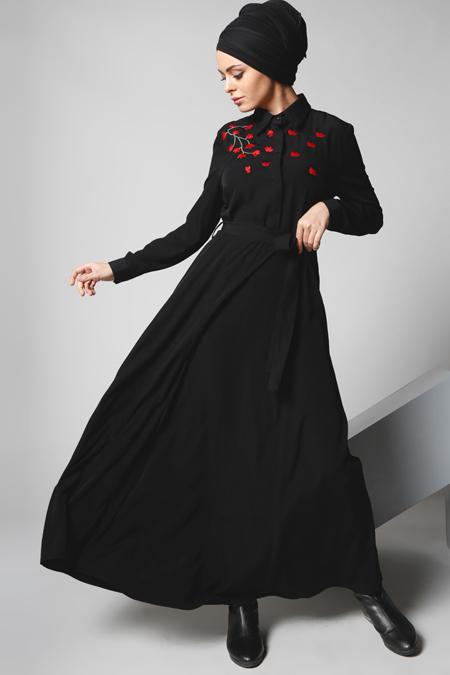 Refka Siyah Nakış İşlemeli Elbise