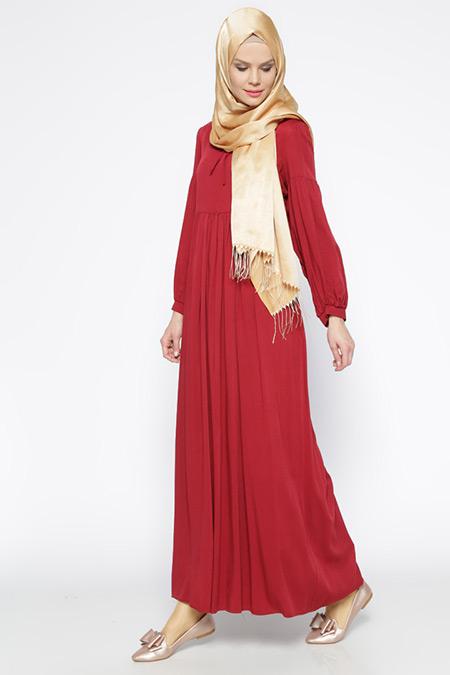 Beha Tesettür Bordo Beli Büzgülü Elbise