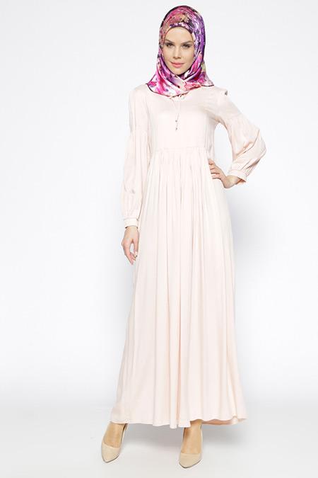 Beha Tesettür Pudra Beli Büzgülü Elbise