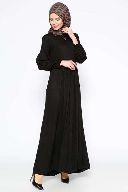 Beha Tesettür Siyah Beli Büzgülü Elbise