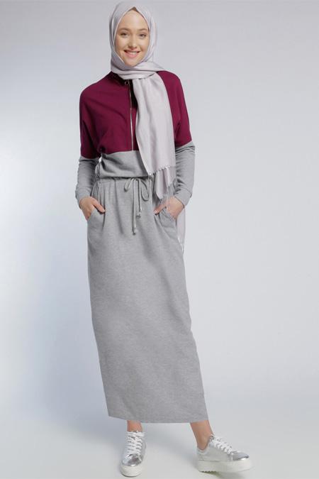 Benin Gri Mürdüm Natürel Kumaşlı Garnili Elbise