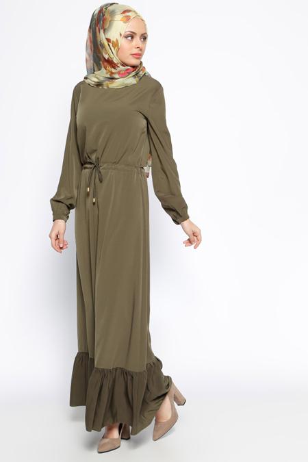 Bislife Haki Fırfırlı Elbise