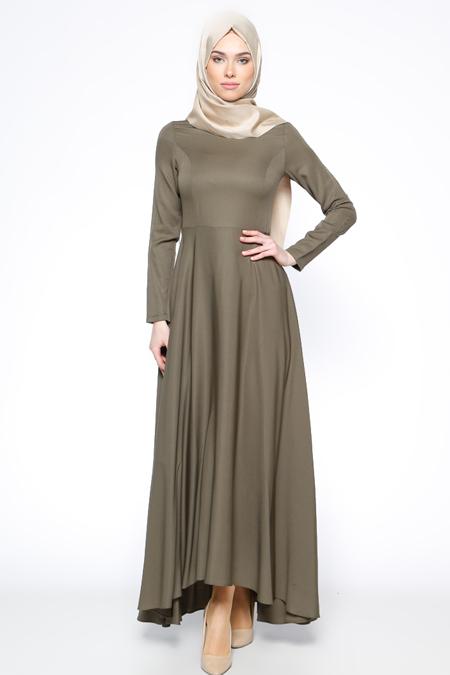 Bislife Haki Kloş Etekli Elbise
