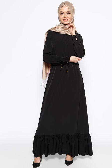 Bislife Siyah Fırfırlı Elbise