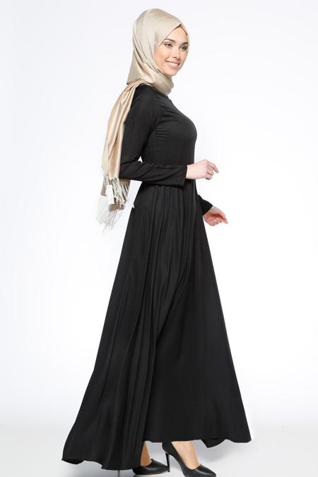 Bislife Siyah Kloş Etekli Elbise