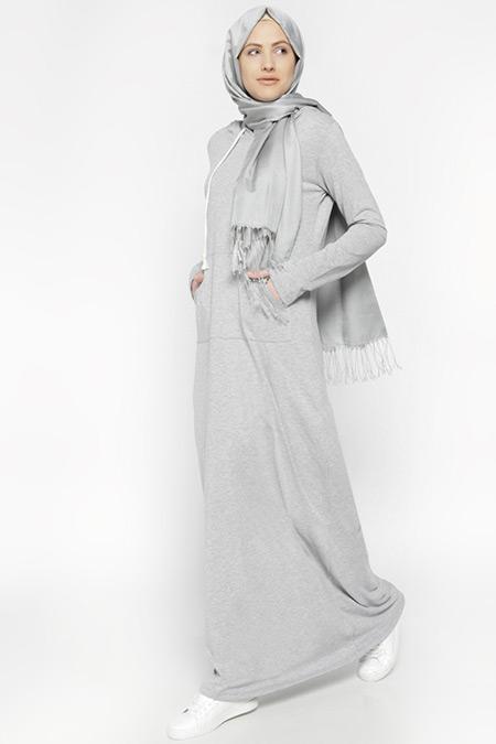 Everyday Basic Gri Kapüşonlu Elbise