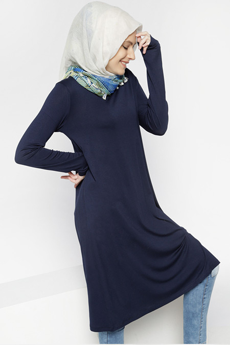 Everyday Basic Lacivert Bisiklet Yaka Tunik