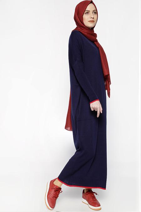 Everyday Basic Lacivert Cepli Triko Elbise