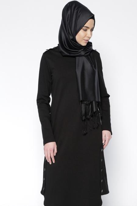 Everyday Basic Siyah Düğme Detaylı Tunik