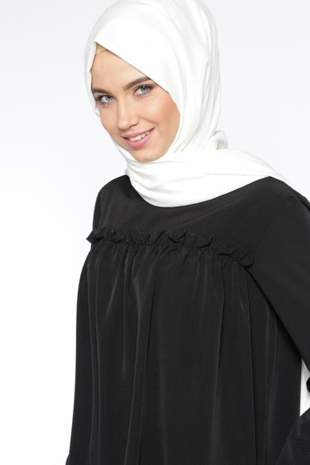 Everyday Basic Siyah Fırfır Detaylı Tunik