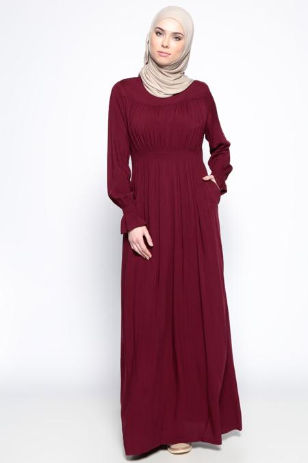 Ginezza Bordo Beli Lastikli Elbise