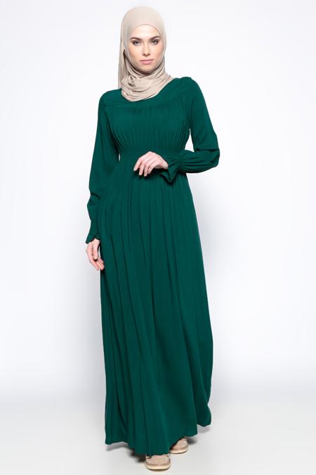 Ginezza Yeşil Beli Lastikli Elbise