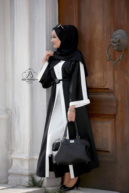 JaRa Offical Siyah Beyaz Abaya