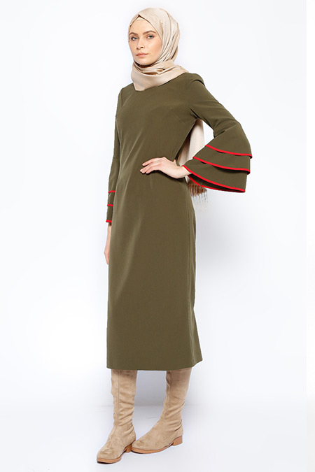 Jaade Haki Kolları Volanlı Elbise