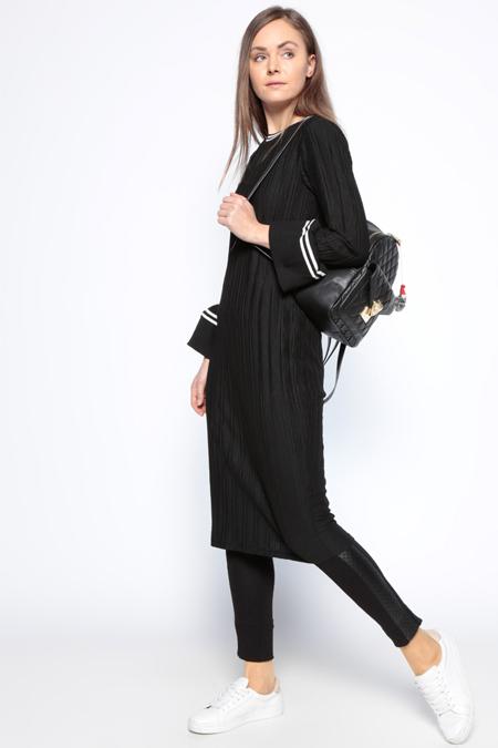 Koton Siyah Kol Detaylı Tunik