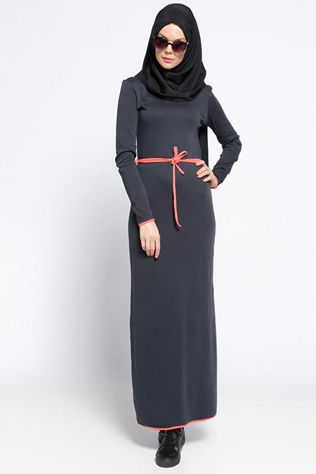 Meryem Acar Füme Mercan Biye Detaylı Elbise