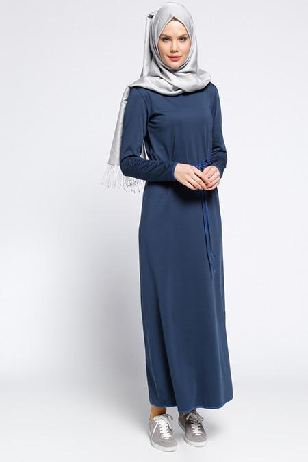 Meryem Acar Lacivert Biye Detaylı Elbise