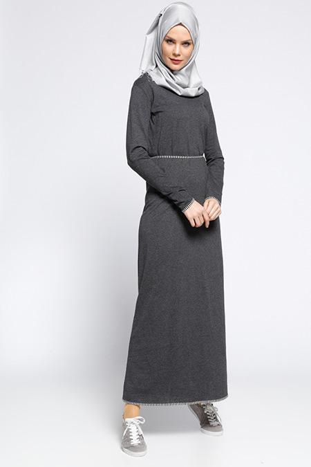 Meryem Acar Siyah Gri Biye Detaylı Elbise